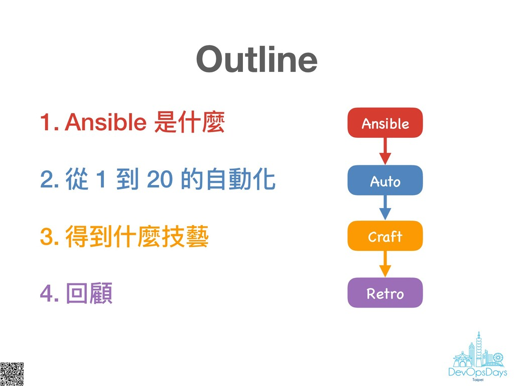 Outline Ansible 1. Ansible 是什什麼 2. 從 1 到 20 的⾃自...