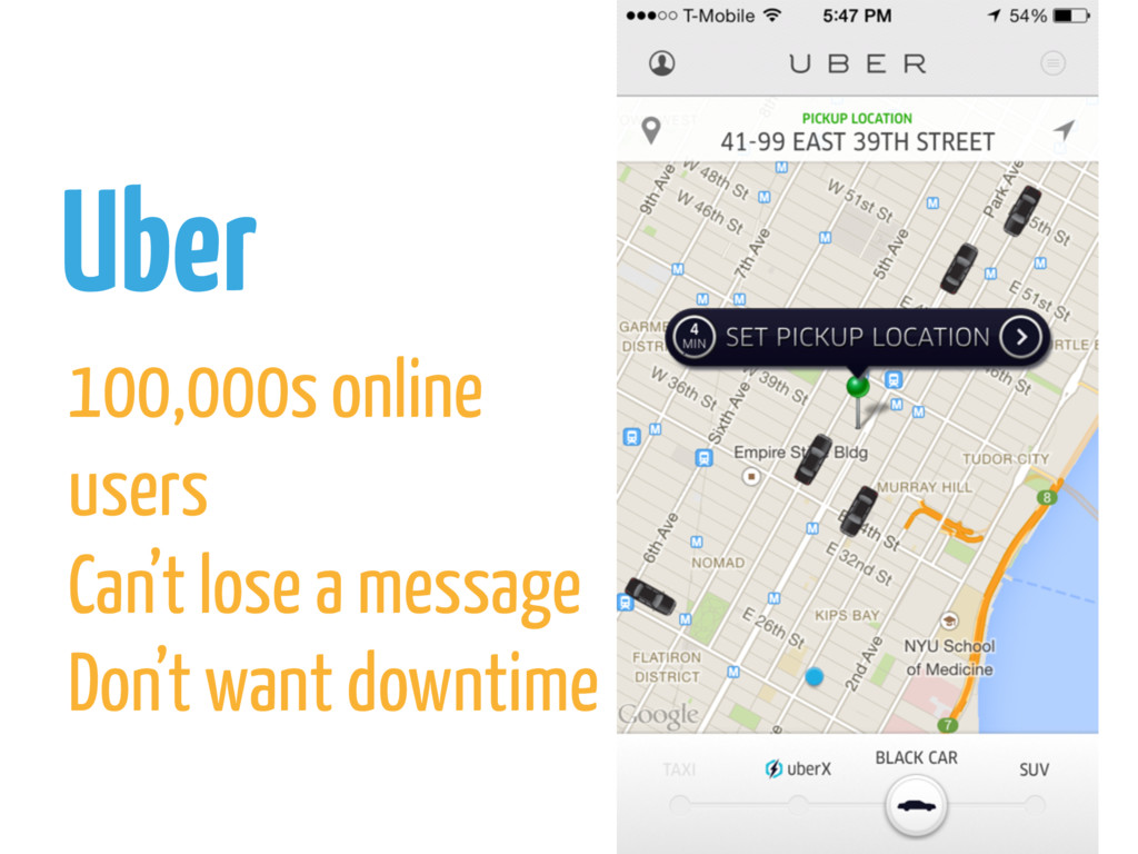 Uber 100,000s online users Can't lose a message...