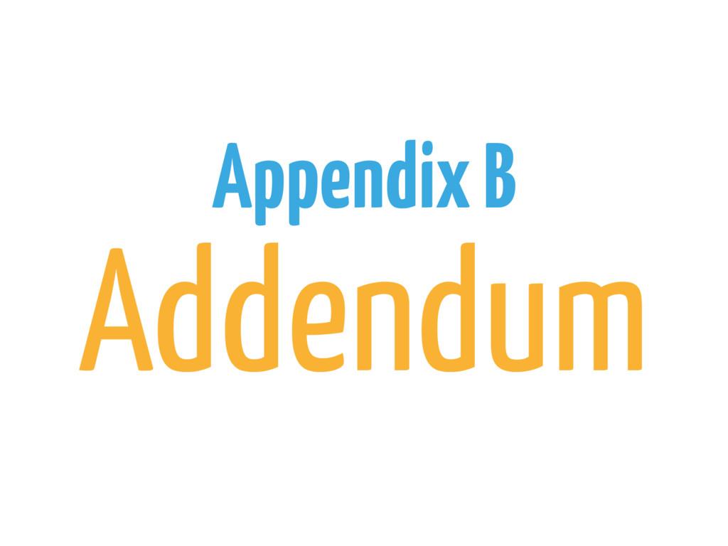 Appendix B Addendum