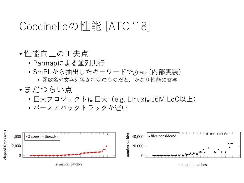 Coccinelleの性能 [ATC '18] • 性能向上の工夫点 • Parmapによる並...