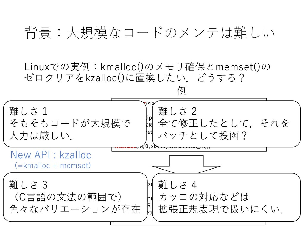 背景:大規模なコードのメンテは難しい Linuxでの実例:kmalloc()のメモリ確保とme...