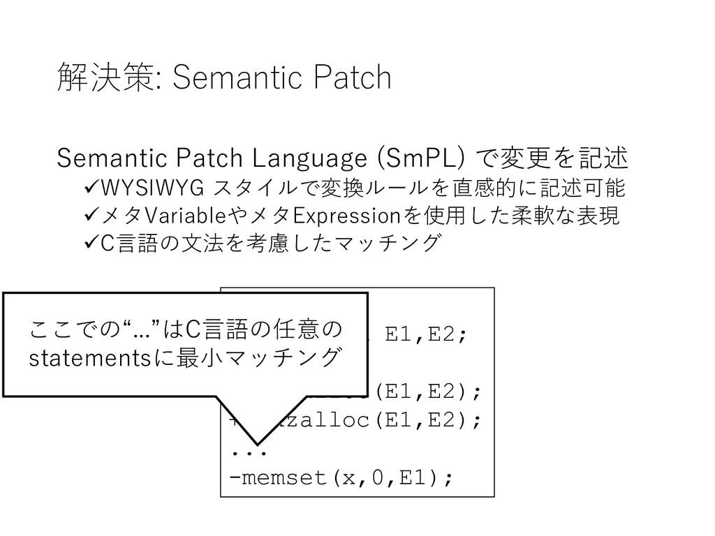 解決策: Semantic Patch Semantic Patch Language (Sm...