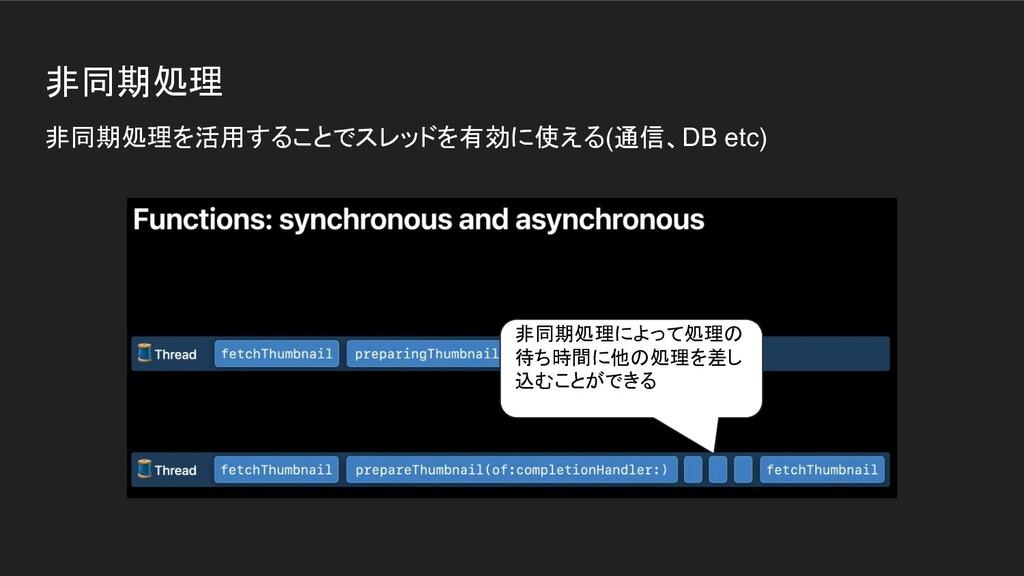 非同期処理 非同期処理を活用することでスレッドを有効に使える(通信、DB etc) 非同期処理...