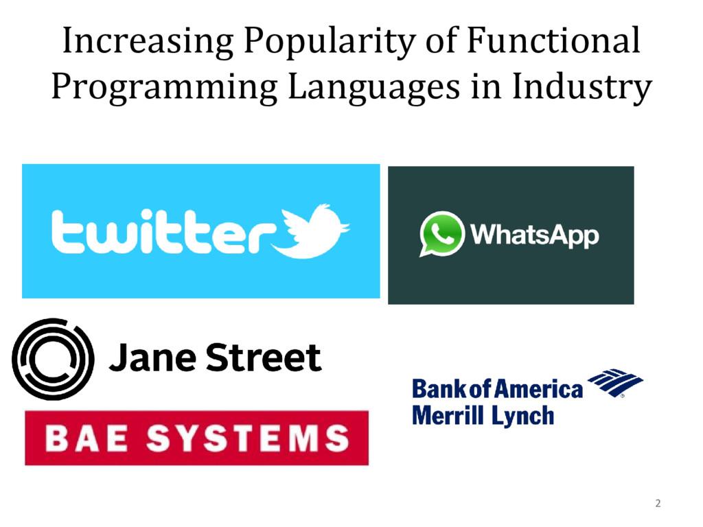 Increasing Popularity of Functional Programming...