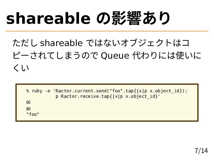 shareable の影響あり ただし shareable ではないオブジェクトはコ ピーされ...
