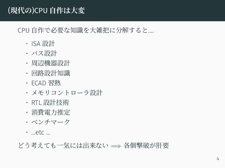 (現代の)CPU 自作は大変 CPU 自作で必要な知識を大雑把に分解すると.... • ISA...