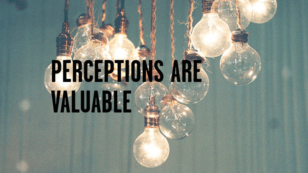 PERCEPTIONS ARE VALUABLE