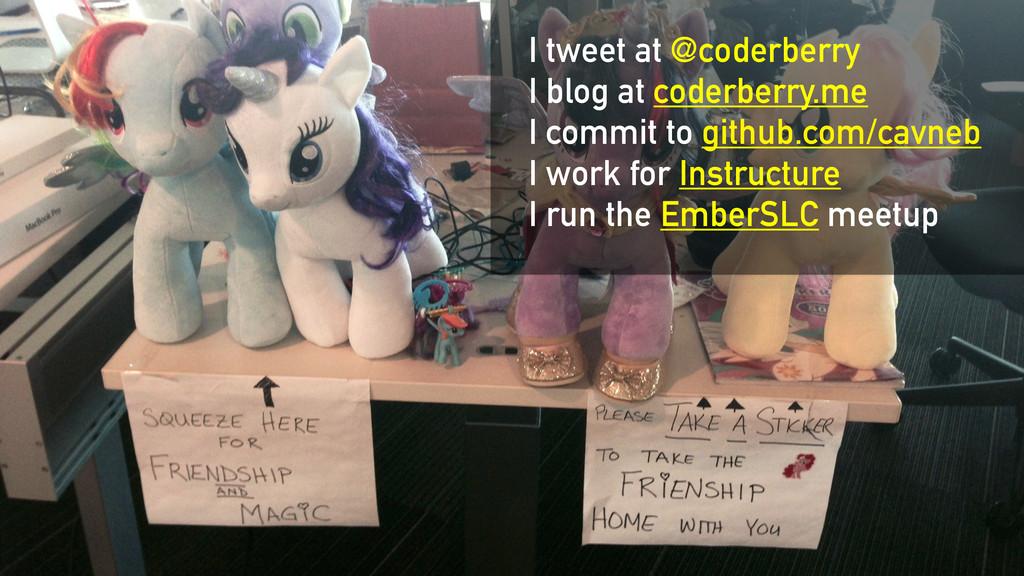 I tweet at @coderberry I blog at coderberry.me ...