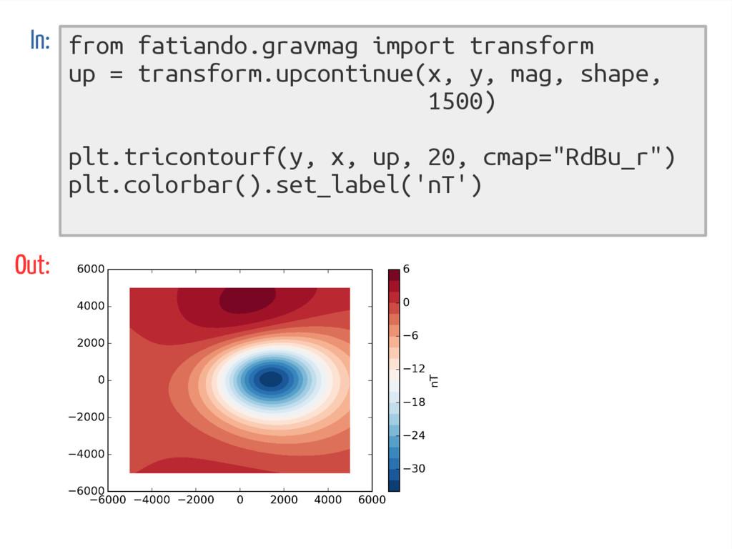from fatiando.gravmag import transform up = tra...