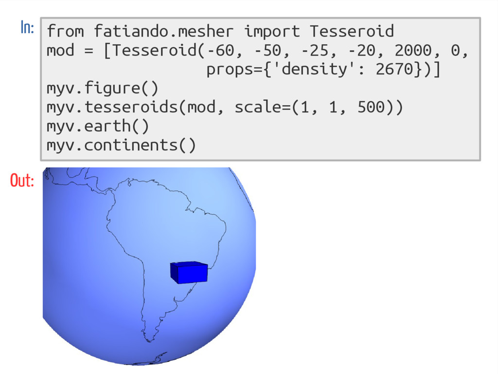 from fatiando.mesher import Tesseroid mod = [Te...