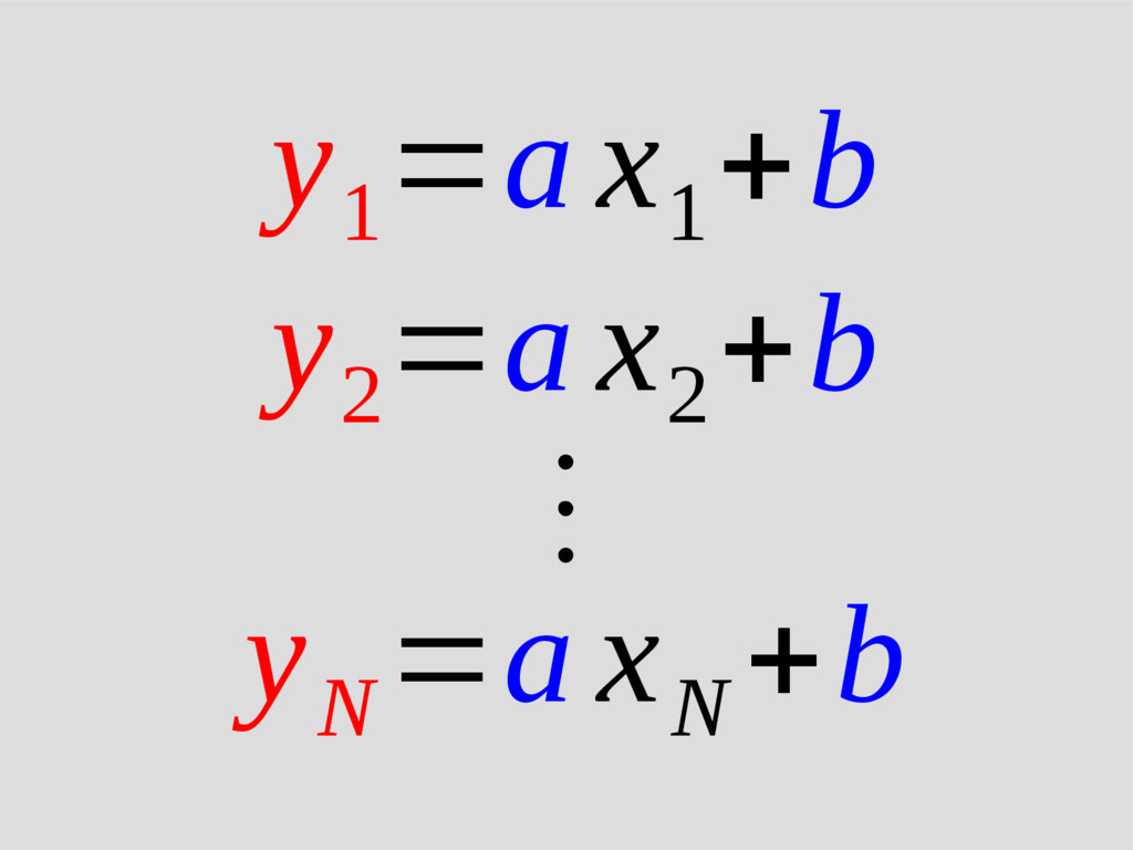 y 1 =a x 1 +b y 2 =a x 2 +b ⋮ y N =a x N +b