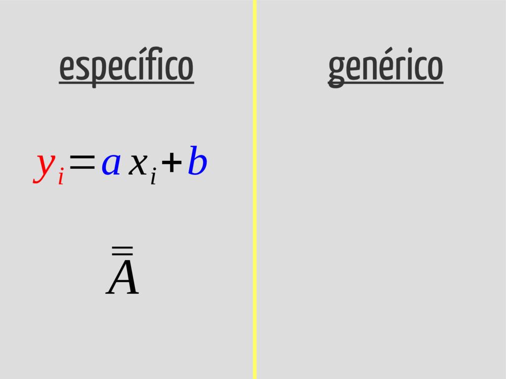 específico genérico y i =a x i +b ¯ ¯ A
