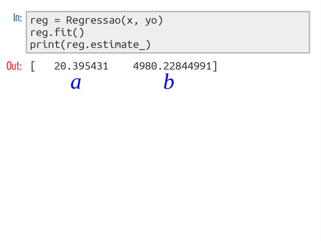 reg = Regressao(x, yo) reg.fit() print(reg.esti...