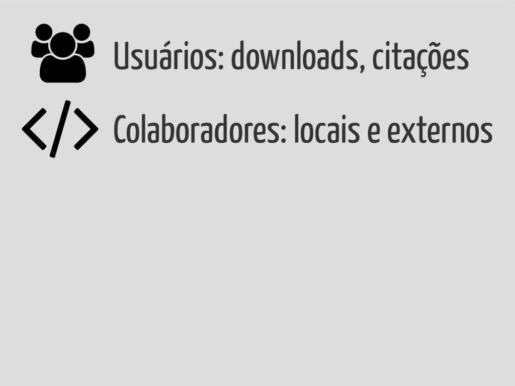 Usuários: downloads, citações Colaboradores: lo...