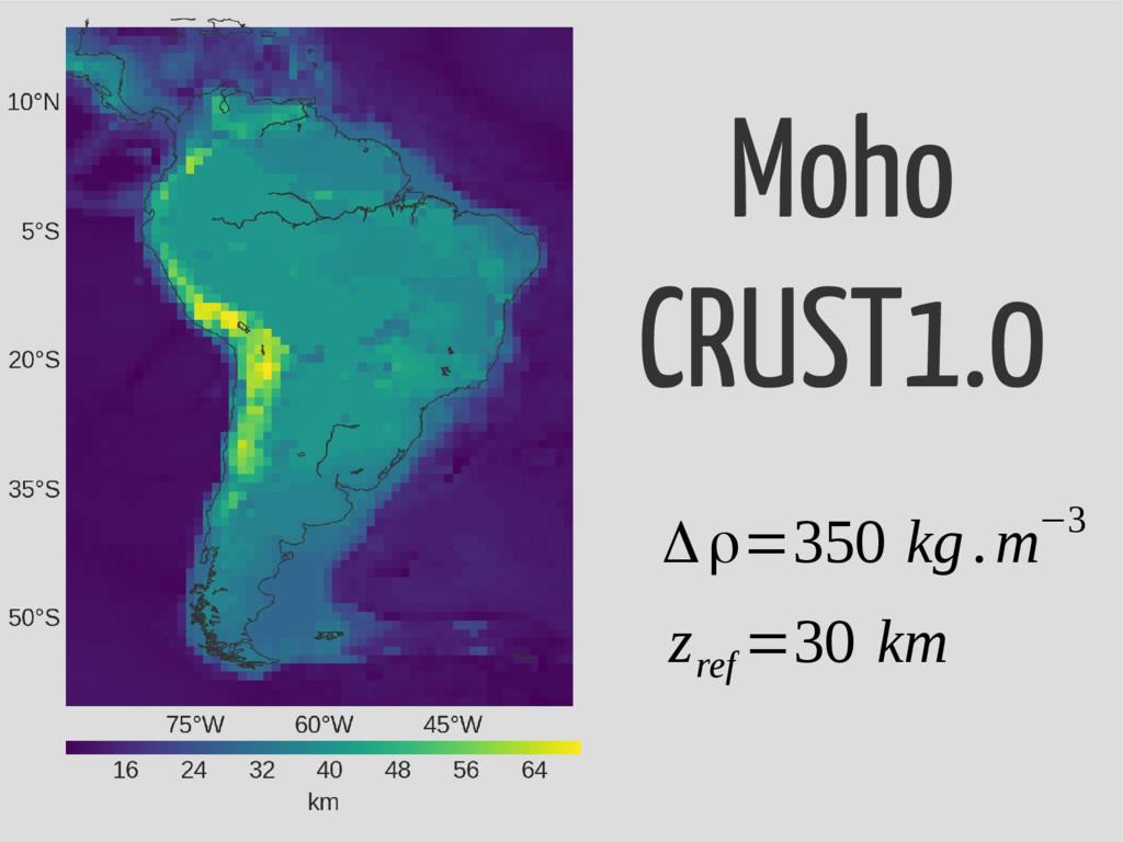 Moho CRUST1.0 Δρ=350 kg.m−3 z ref =30 km