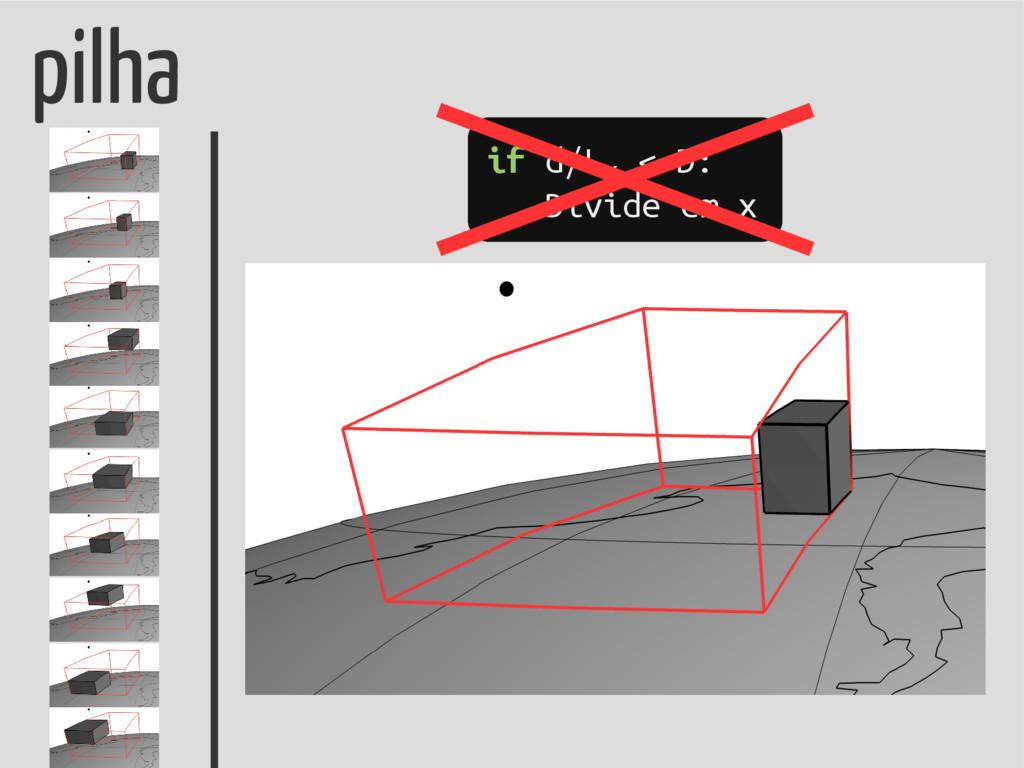 pilha if d/Lx < D: Divide em x