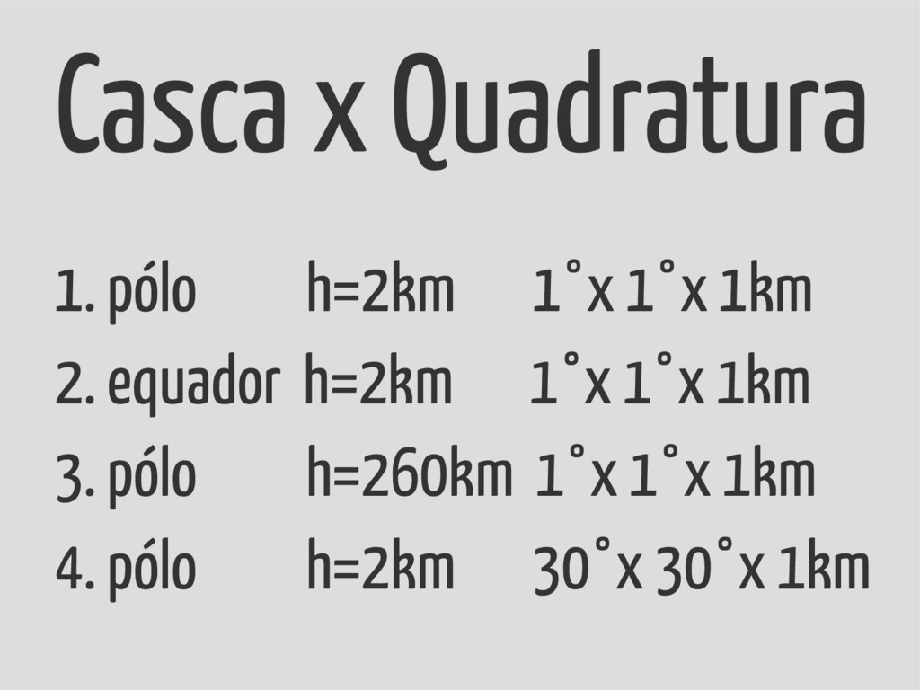 1. pólo h=2km 1°x 1°x 1km 2. equador h=2km 1°x ...
