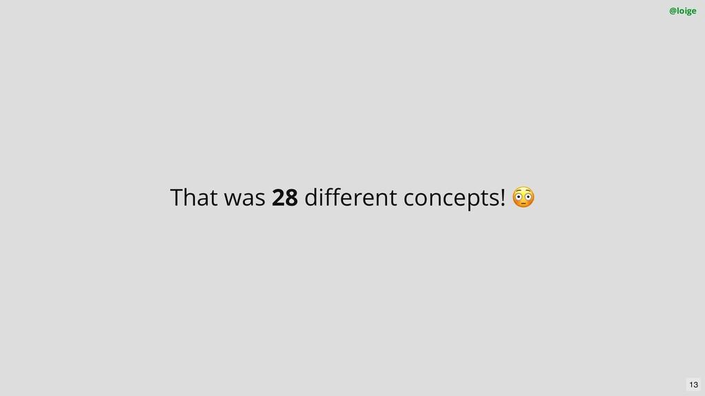 That was 28 different concepts! 😳 @loige 13