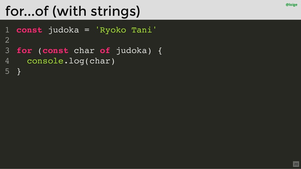 const judoka = 'Ryoko Tani' for (const char of ...