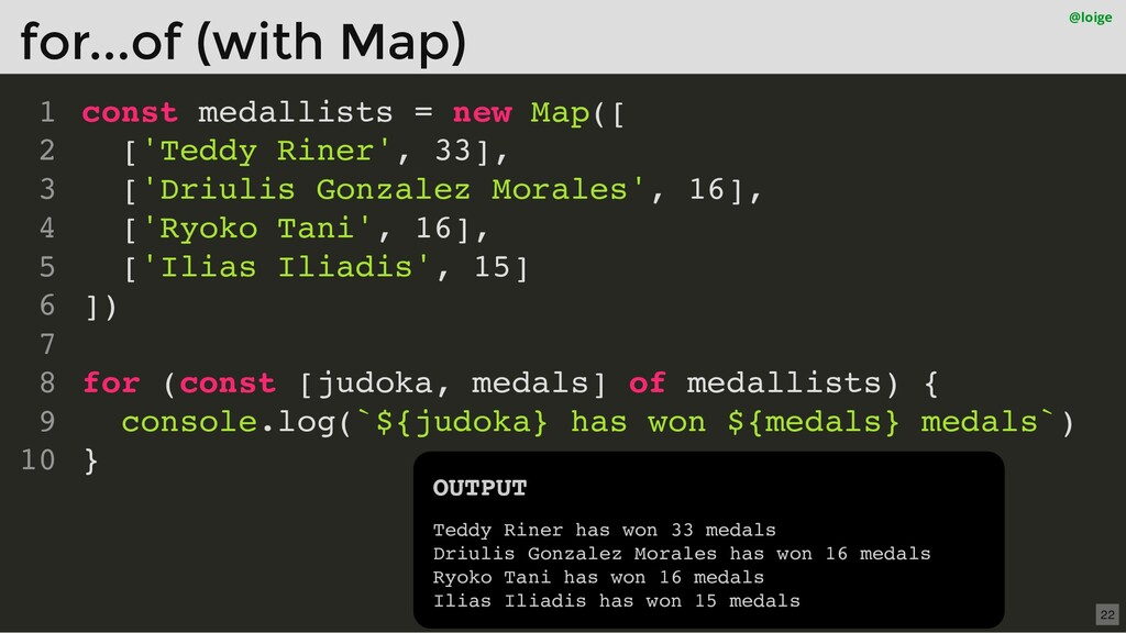 const medallists = new Map([ ['Teddy Riner', 33...