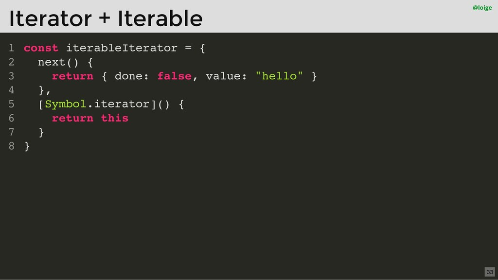 const iterableIterator = { next() { return { do...