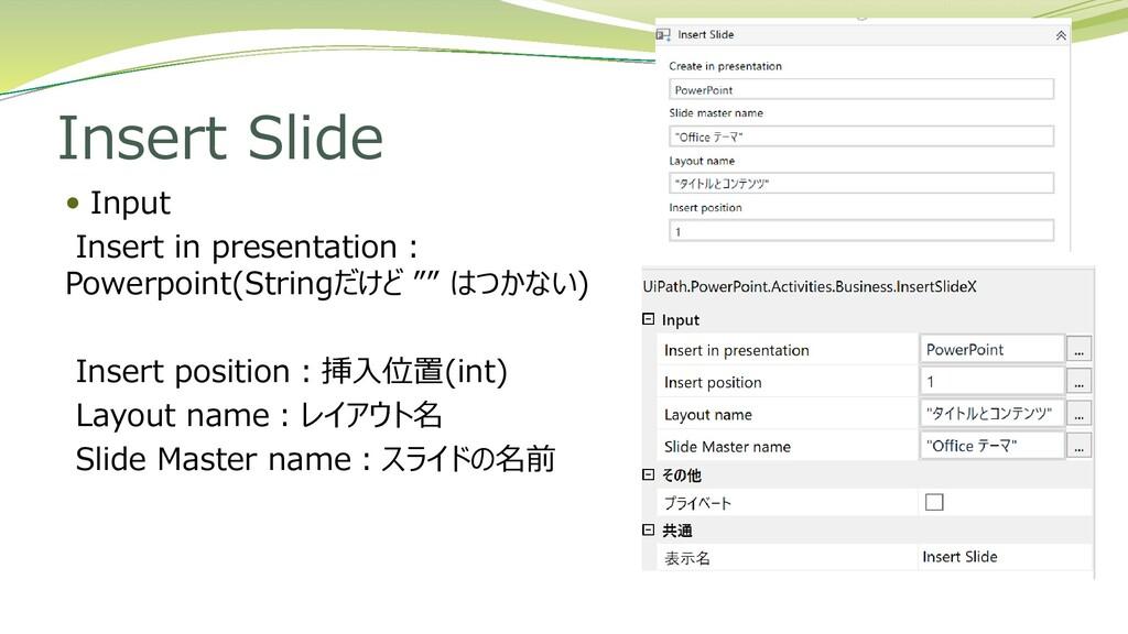 Insert Slide  Input Insert in presentation: Po...