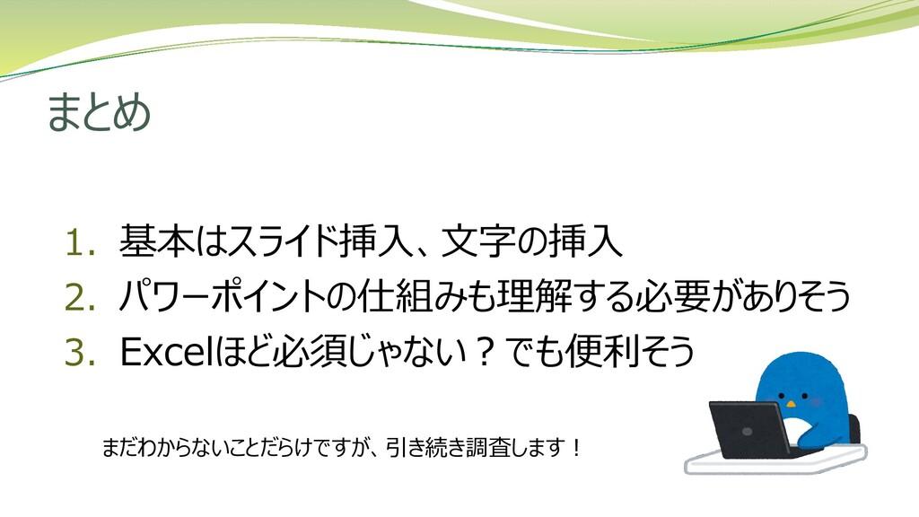 まとめ 1. 基本はスライド挿入、文字の挿入 2. パワーポイントの仕組みも理解する必要があり...