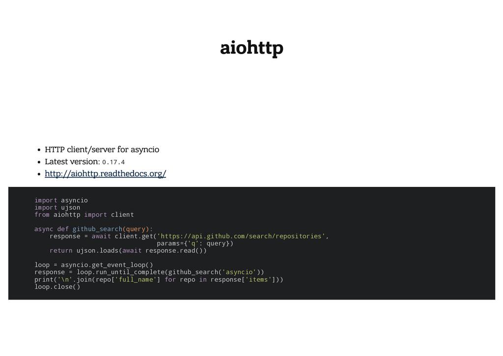 aiohttp HTTP client/server for asyncio Latest v...