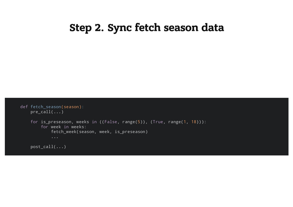 Step 2. Sync fetch season data d e f f e t c h ...