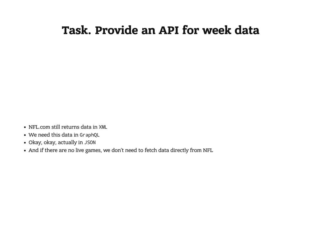 Task. Provide an API for week data NFL.com stil...