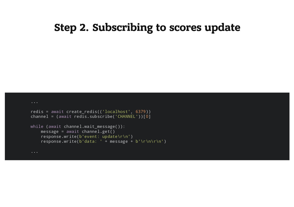 Step 2. Subscribing to scores update . . . r e ...
