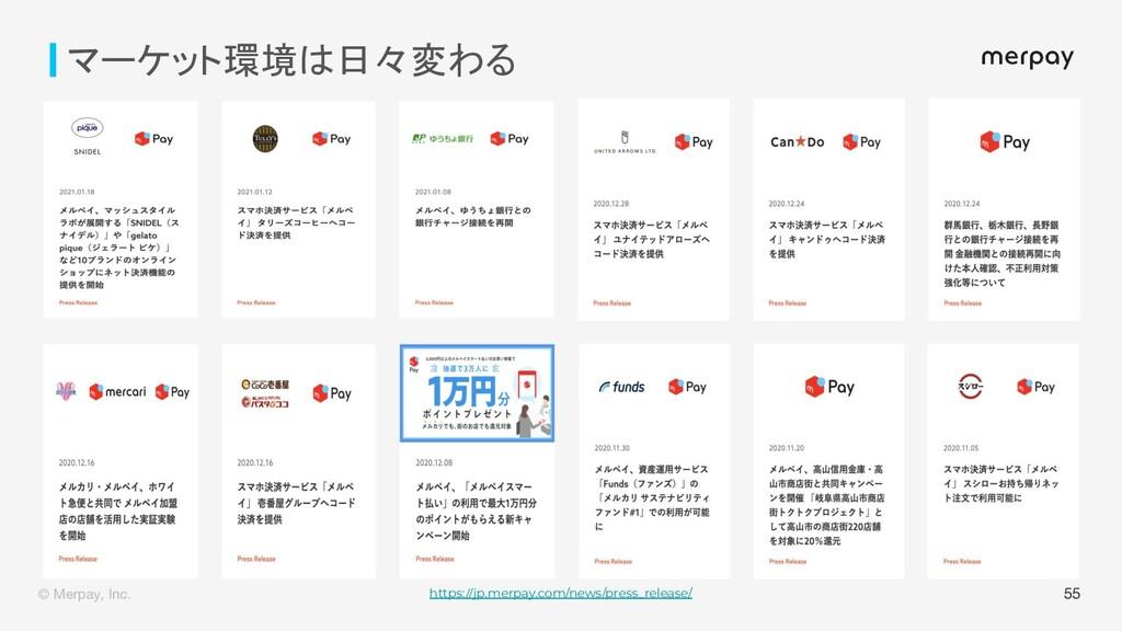 © Merpay, Inc. 55 マーケット環境は日々変わる https://jp.merp...