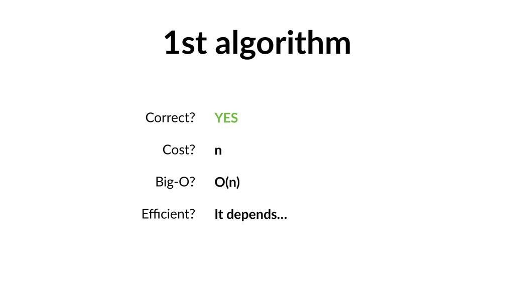 1st algorithm Correct? Cost? Big-O? Efficient? YE...