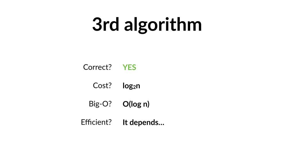 3rd algorithm Correct? Cost? Big-O? Efficient? YE...