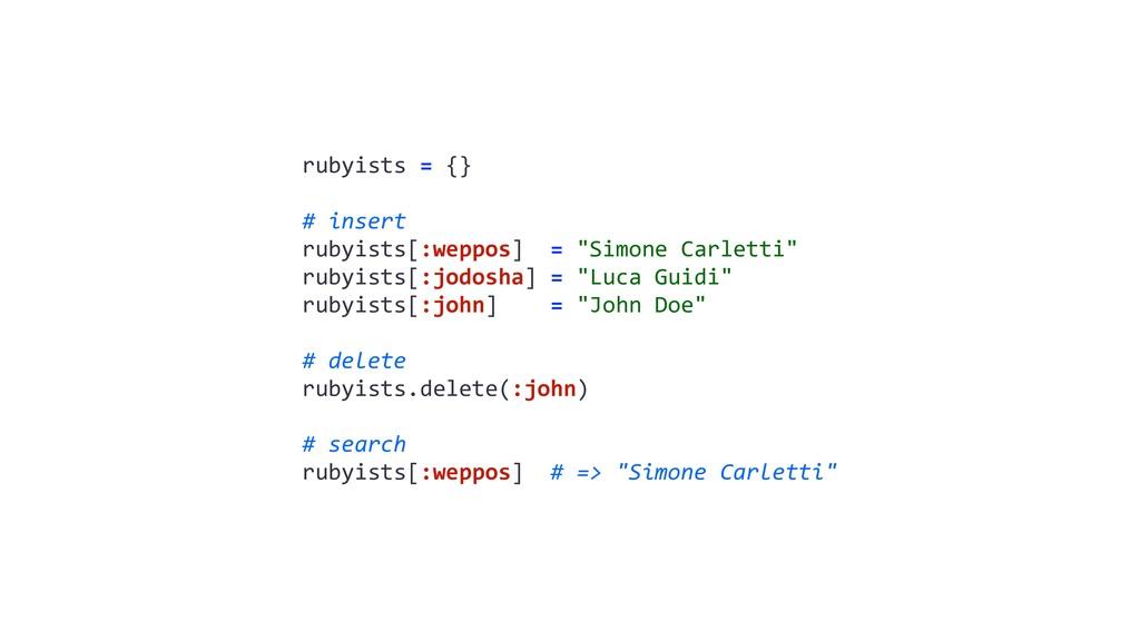 """rubyists = {} # insert rubyists[:weppos] = """"Sim..."""