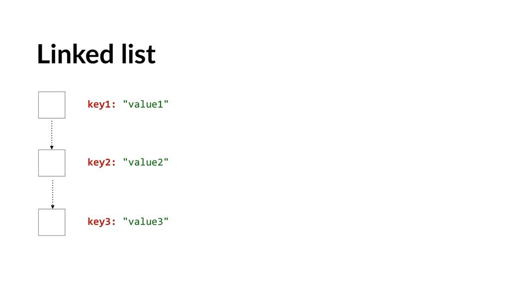 "Linked list key1: ""value1"" key2: ""value2"" key3:..."