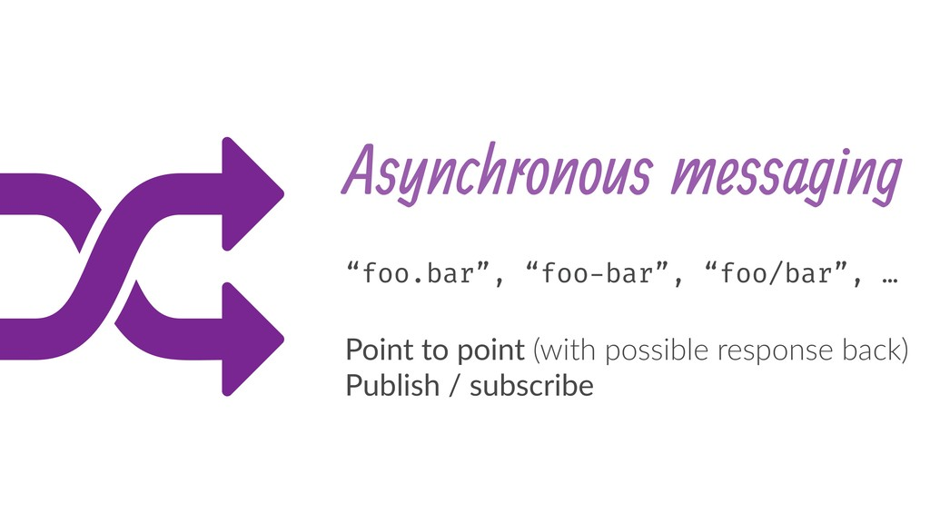 "Asynchronous messaging ""foo.bar"", ""foo-bar"", ""f..."