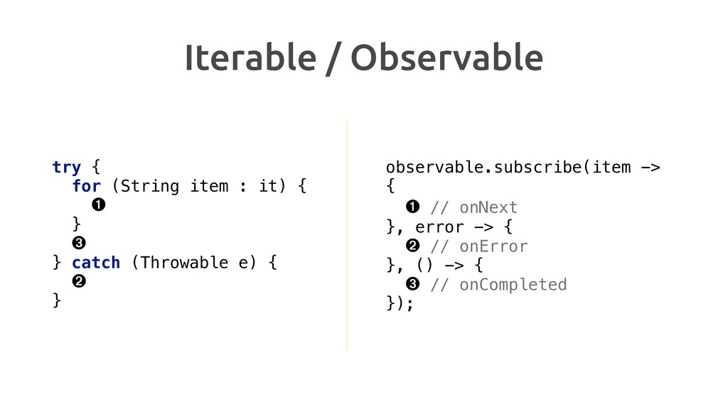 Iterable / Observable try { for (String item :...
