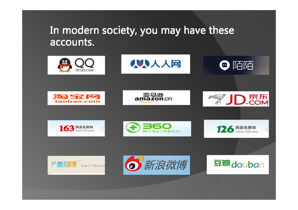 In modern society, you may have these accounts.