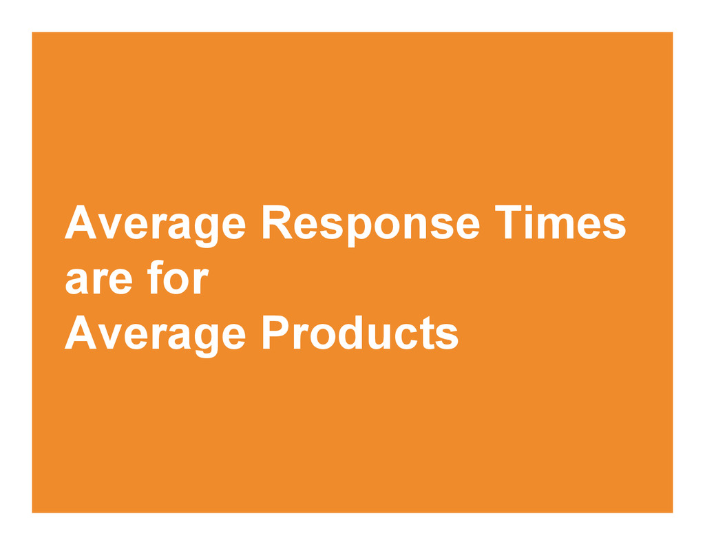 Average Response Times are for Average Products