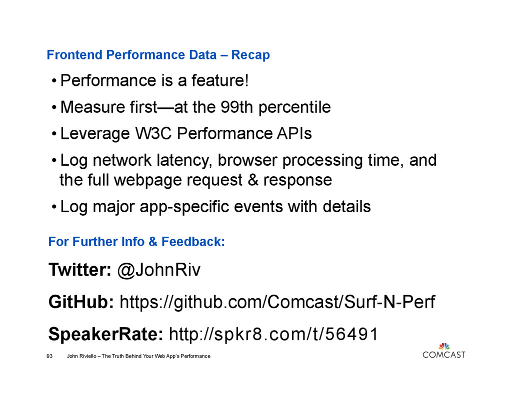 Frontend Performance Data – Recap John Riviello...