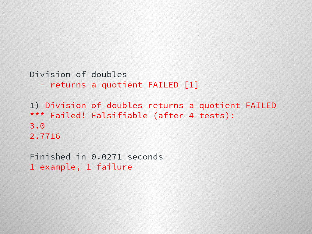 Division of doubles - returns a quotient FAILED...