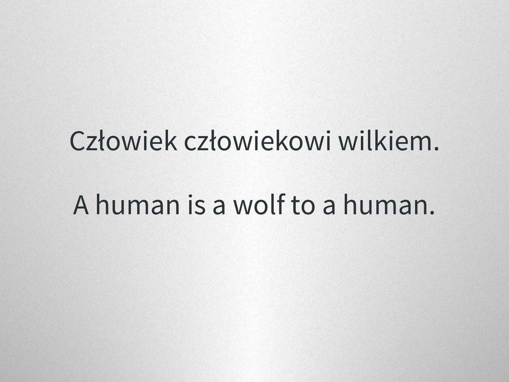 Człowiek człowiekowi wilkiem. A human is a wolf...