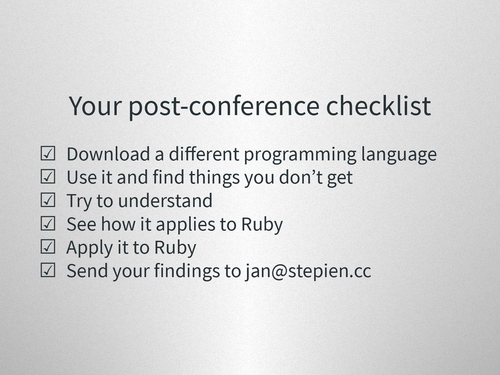Your post-conference checklist ☑ Download a diff...