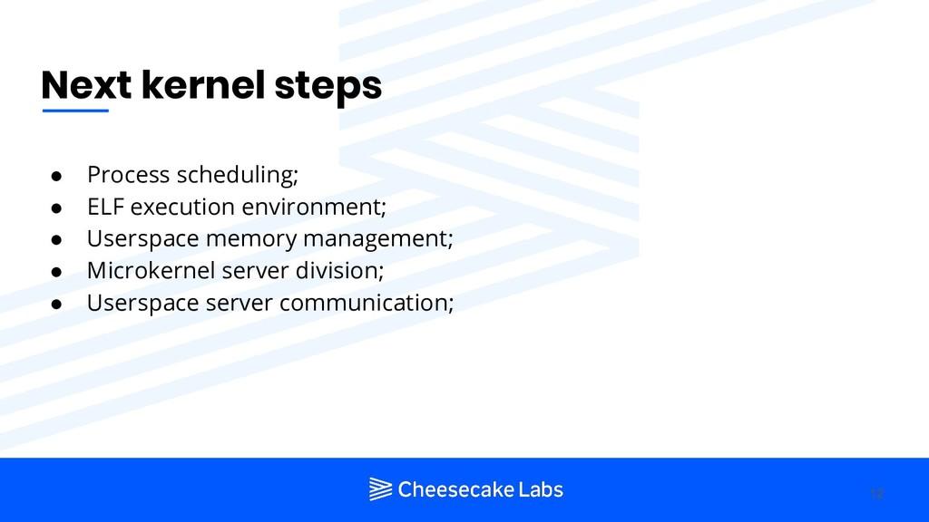 Next kernel steps ● Process scheduling; ● ELF e...