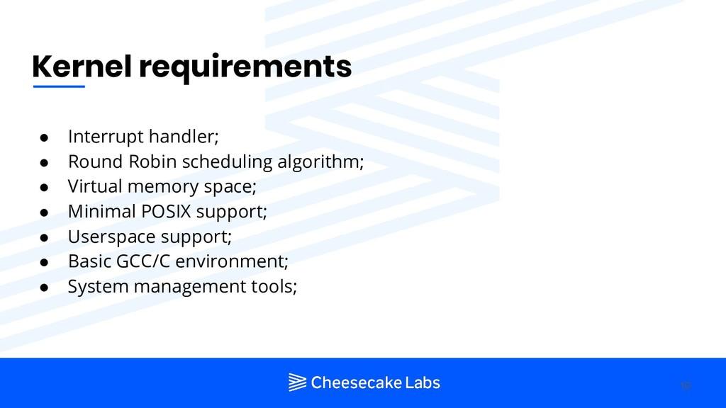 Kernel requirements ● Interrupt handler; ● Roun...