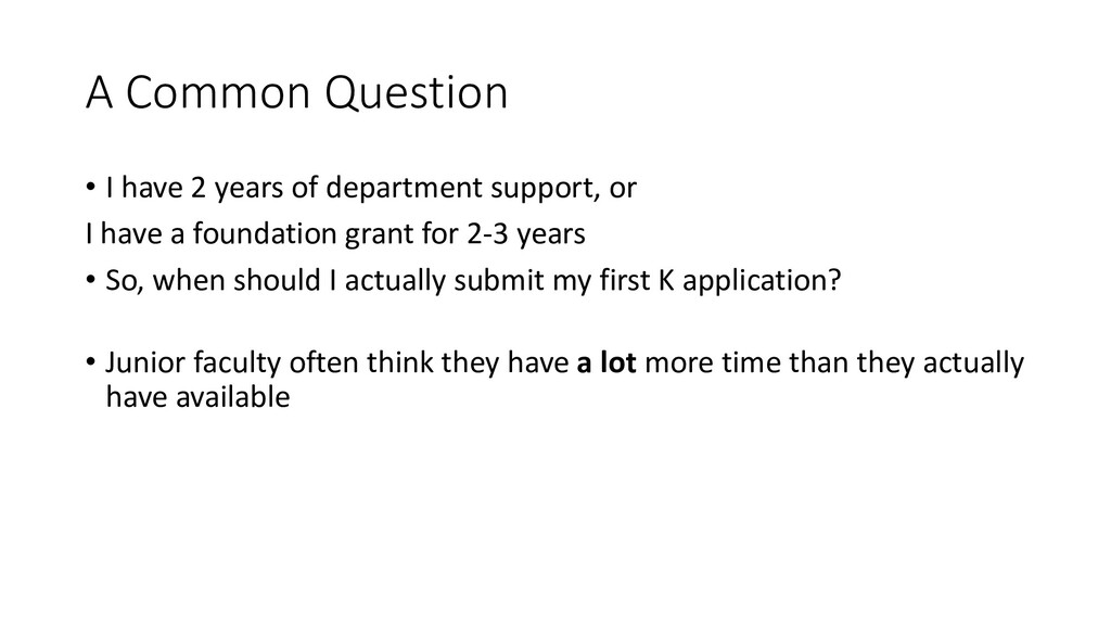 A Common Question • I have 2 years of departmen...