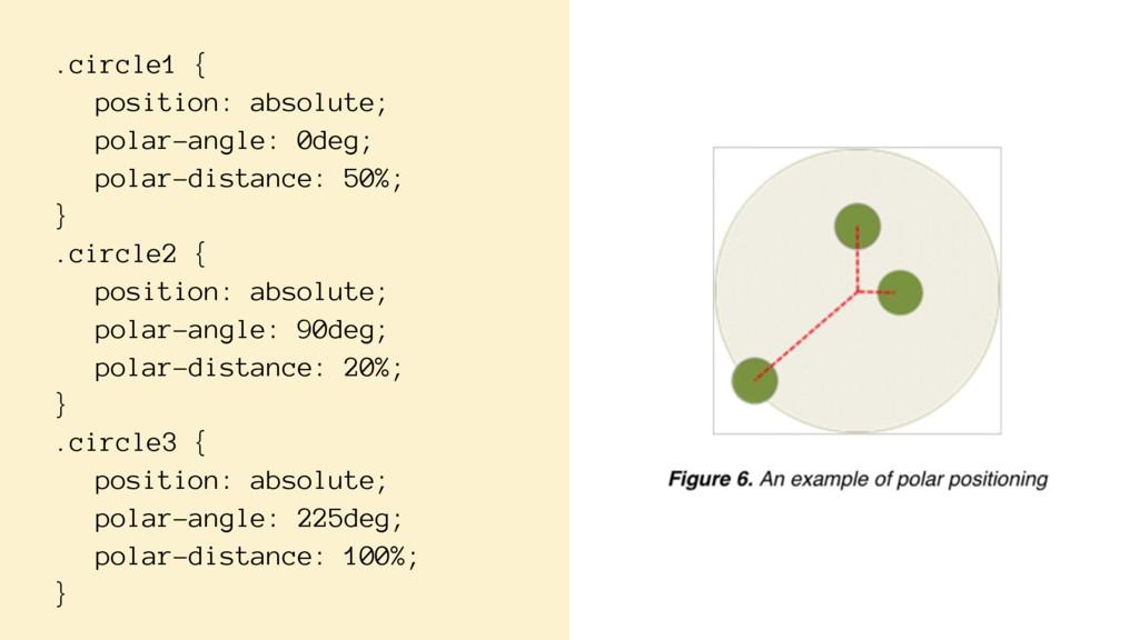 .circle1 { position: absolute; polar-angle: 0de...