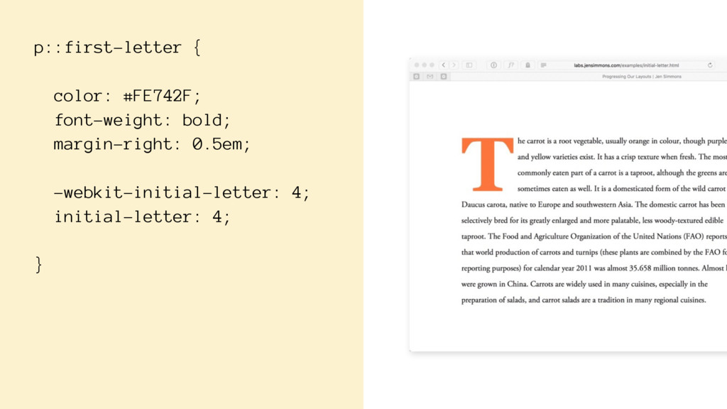 p::first-letter { color: #FE742F; font-weight: ...