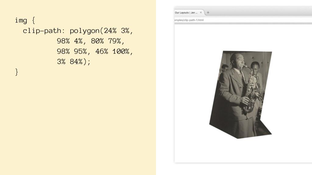 img { clip-path: polygon(24% 3%, 98% 4%, 80% 79...